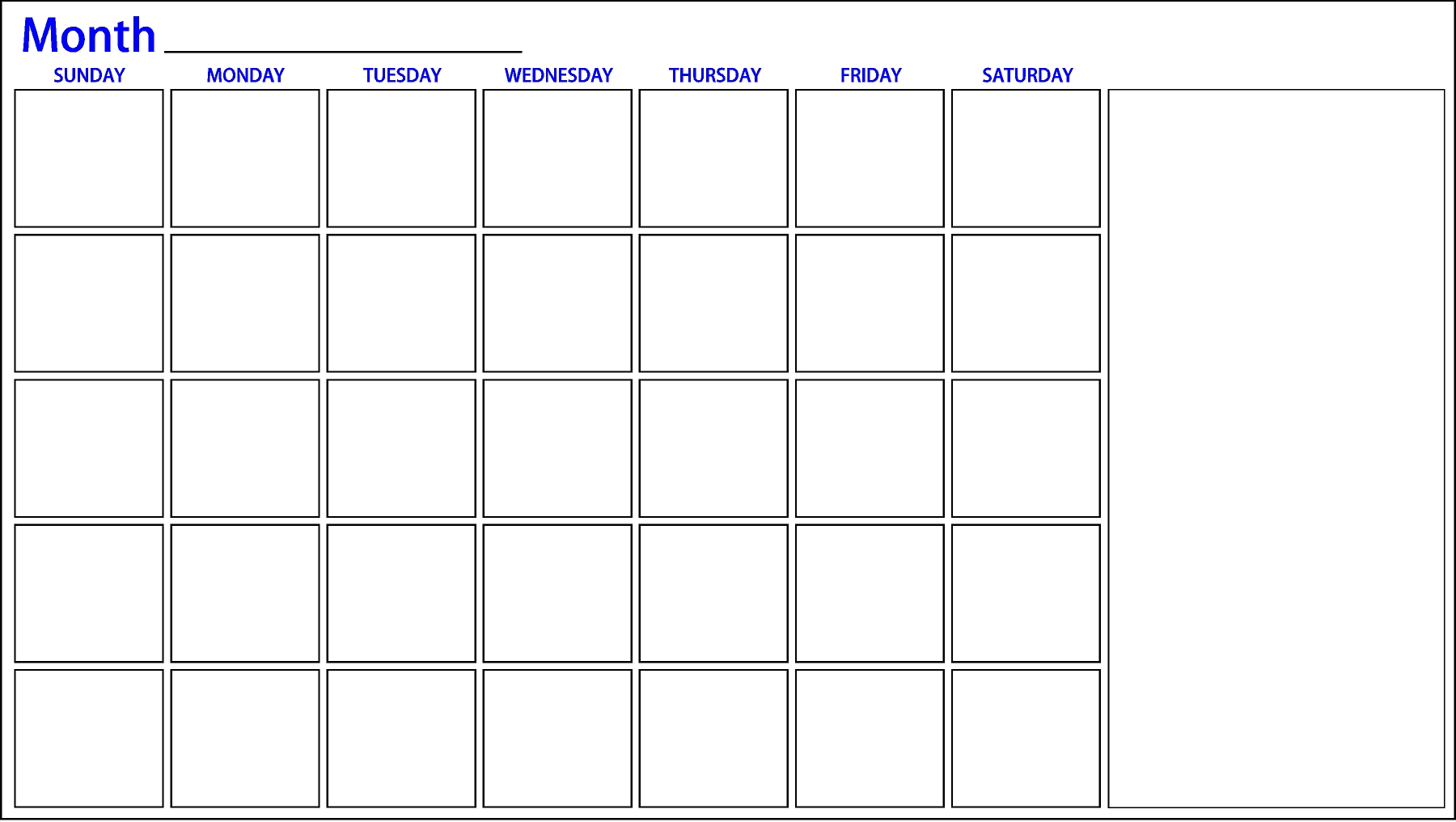 One Month Calendar | Dry Erase Board | Dry Erase Innovations