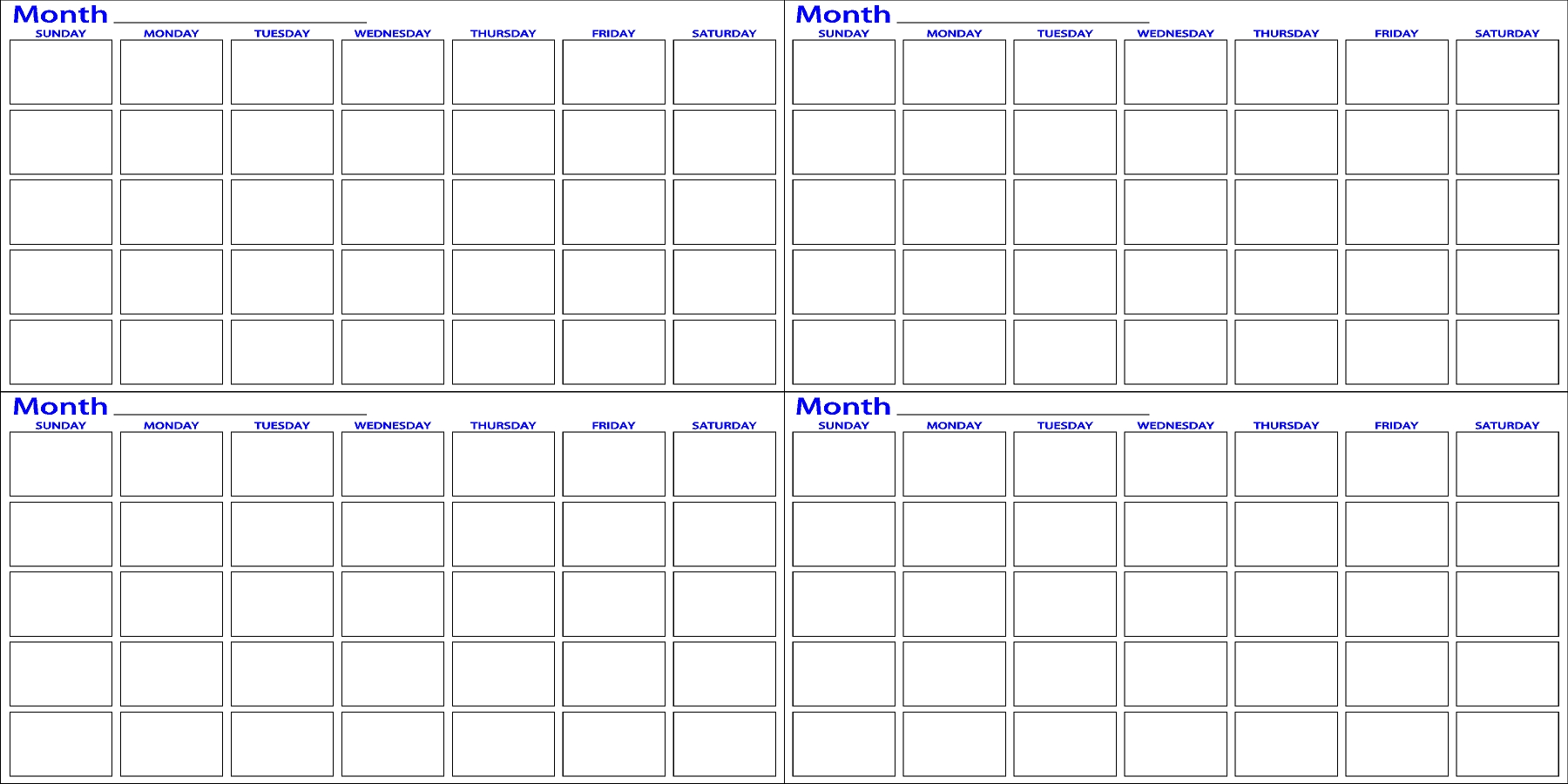 Four Month | Dry Erase Calendar | Dry Erase Innovations